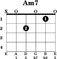 B Minor Guitar Chord Standard Tuning Am7 - Guitar